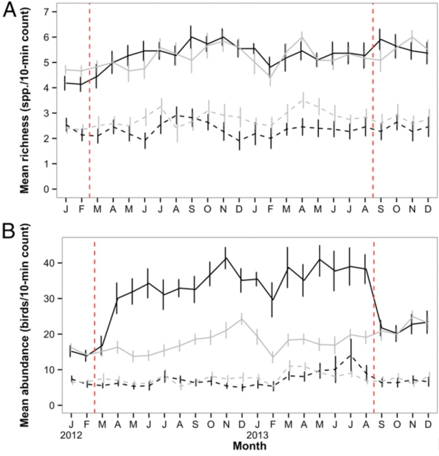 Figure 3. Overall (A) species abundance and (B) relative richness of garden birds recorded during 10-min point counts at urban study properties in northern Auckland, New Zealand, before, during, and after implementation of an experimental feeding regime. Key: introduced feeding (F) properties (solid black line); introduced nonfeeding (NF) properties (solid grey line); native F properties (dashed black line); native NF properties (dashed grey line). Vertical red dashed lines indicate the start and end of the feeding regime. Error bars represent SEM. (doi: 10.1073/pnas.1501489112). Illustration:  Josie Galbraith.